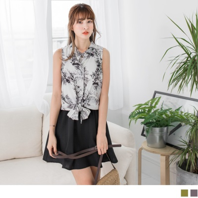0504新品 印花下擺綁帶設計兩件式無袖洋裝.2色