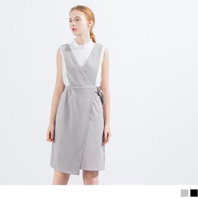 0516新品 前交叉造型金屬釦環吊帶裙.2色