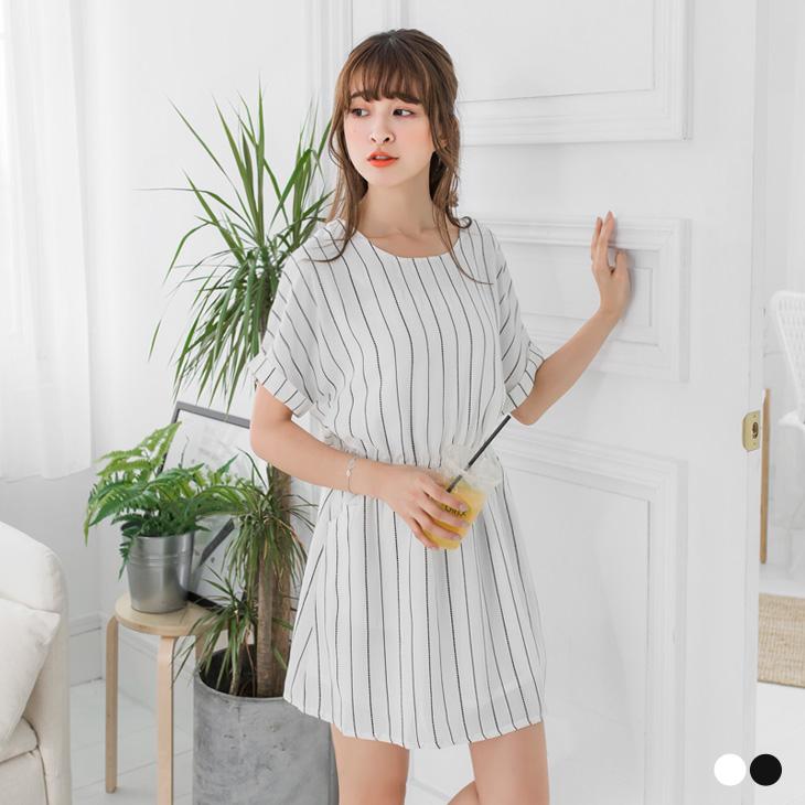 0524新品 落肩反折袖直條紋縮腰洋裝ob 是 什麼.2色