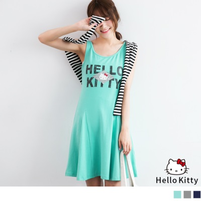 0622新品 經典HELLO KITTY斑駁印圖傘狀背心洋裝.3色