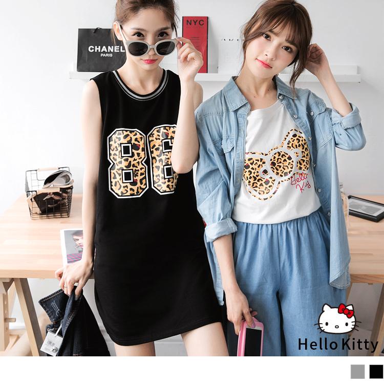 0512新品 KITTYob豹紋圖樣圓領織帶棉感洋裝/長版上衣.3色