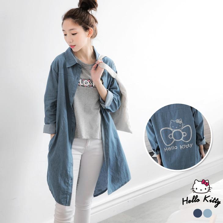0506新品 HELLO KITTYob嚴選 廣告背後圖樣水洗牛仔長版襯衫.2色