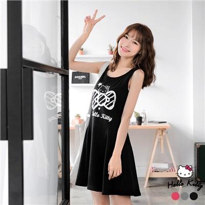 0622新品 HELLO KITTY蝴蝶結印圖傘狀背心洋裝.3色