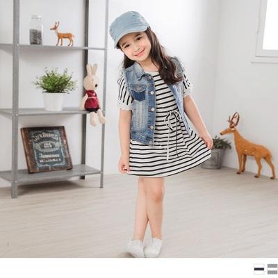 0428新品 蕾絲拼接袖橫條紋洋裝‧童2色