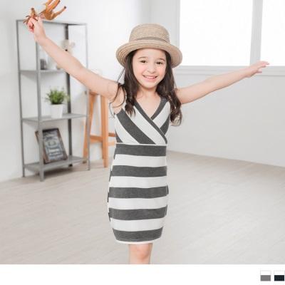 0428新品 親子裝系列~交叉V領無袖洋裝‧童2色