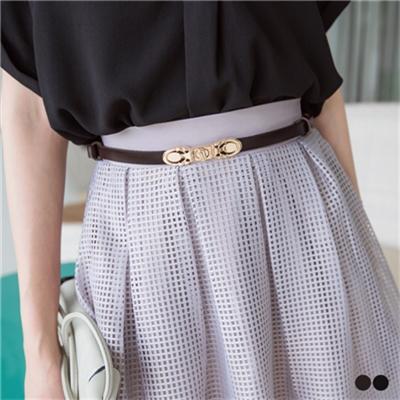 0614新品 高雅搭配~鏤空金屬釦環調節式皮帶.2色