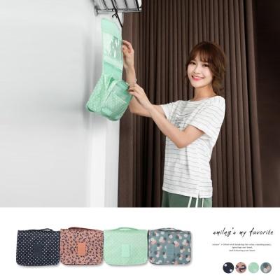 0616新品 懸掛式可愛印花旅遊收納包.4色