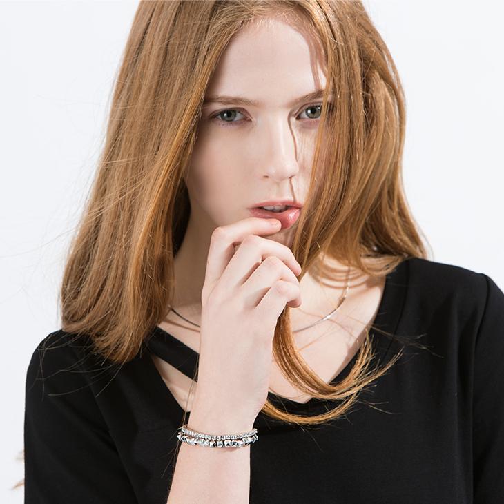 0425新品 水鑽銀色珠珠手環/可拆式2入.1色
