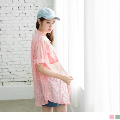 0608新品 質感小格紋七分袖長版襯衫.2色