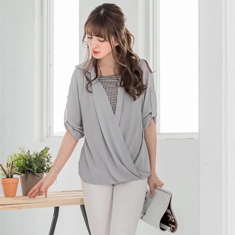 0509新品 千鳥ob衣服品質紋x雪紡垂綴襯衫反褶釦袖假兩件上衣.2色