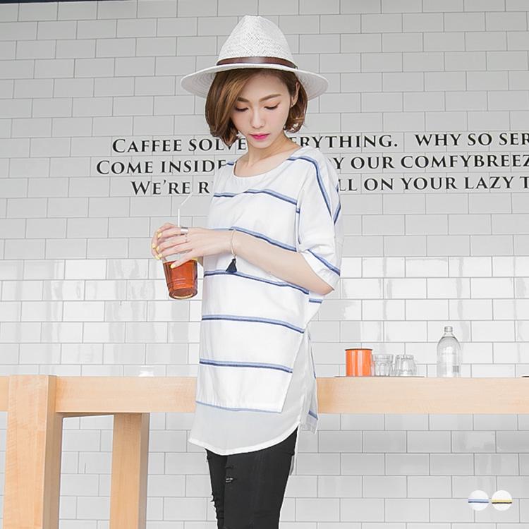 0517新品  雪ob拍賣紡拼接雙色條紋五分袖圓領長版上衣.2色