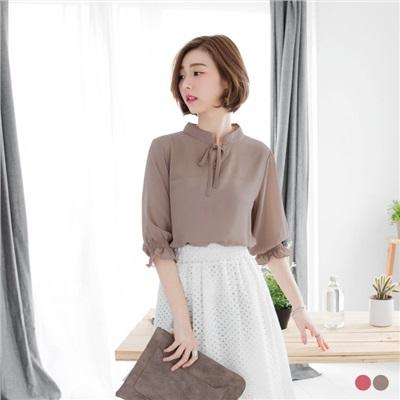 0516新品 蝴蝶結鏤空綁帶造型袖口雪紡上衣.2色