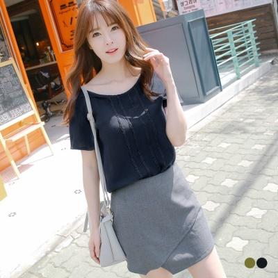 0601新品 棉感直紋造型蕾絲邊襬圓領短袖上衣.2色