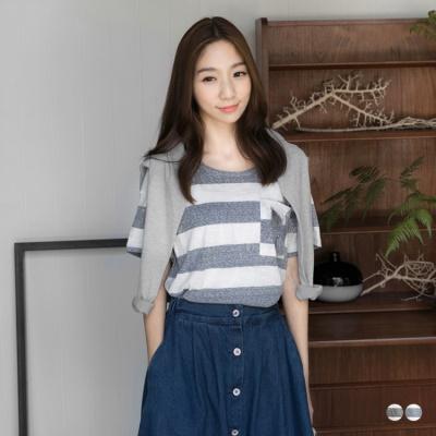 0530新品 親子裝系列~橫條紋流蘇造型圓領上衣‧女2色
