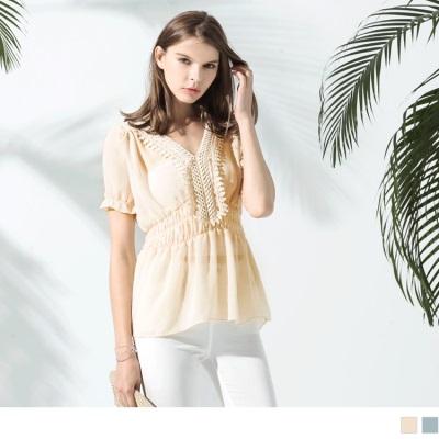 0523新品 質感縮腰蕾絲拼接上衣.2色