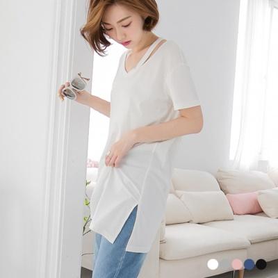 0516新品 素色V領修肩造型斜襬寬鬆長版上衣.5色