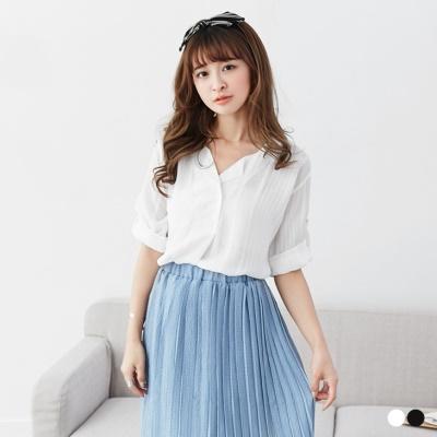0516新品 純色直條壓紋拼開襟翻領設計上衣.2色