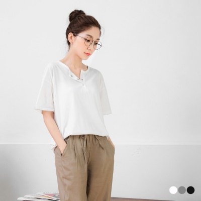 0531新品 素色輕日系半開襟釦短袖落肩寬鬆上衣.3色
