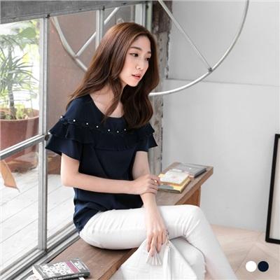 0602新品 雪紡珍珠綴蕾絲花邊皺褶襬造型上衣.2色