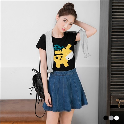 0531新品 繽紛QQ毛花斑母牛造型T恤.4色