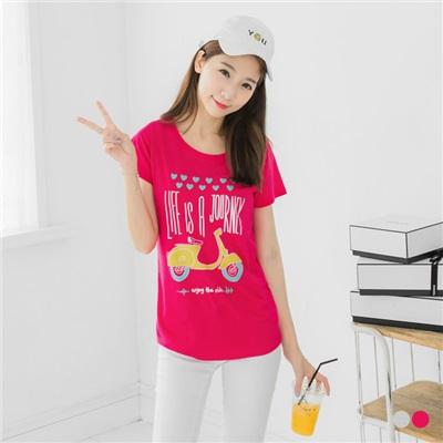 0602新品 黃色手繪機車英文字樣棉感T恤.2色