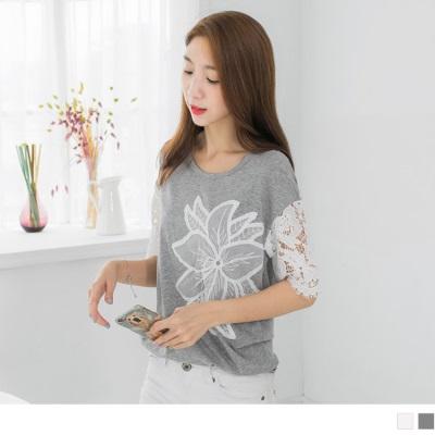 0606新品 刺繡網紗花朵X蕾絲拼袖棉感上衣.2色