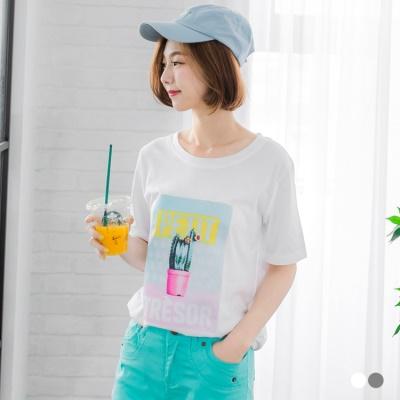 0601新品 異材質拼接仙人掌圖樣T恤.2色