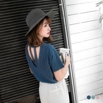 0531新品 後鏤空造型純色竹節棉上衣.3色