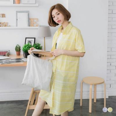 0601新品 格紋棉感單口袋寬鬆長版開襟襯衫/外套.2色