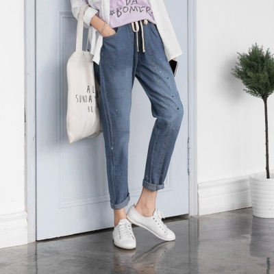 0614新品 潑漆設計抽繩寬鬆感九分牛仔褲