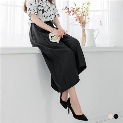 0601新品 素色打褶壓紋鬆緊寬版九分褲.2色