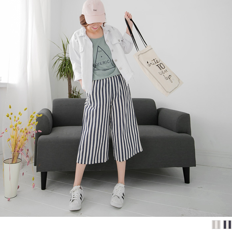 0516新品 直條紋棉感休閒腰鬆緊七分ob模特兒寬版褲.2色
