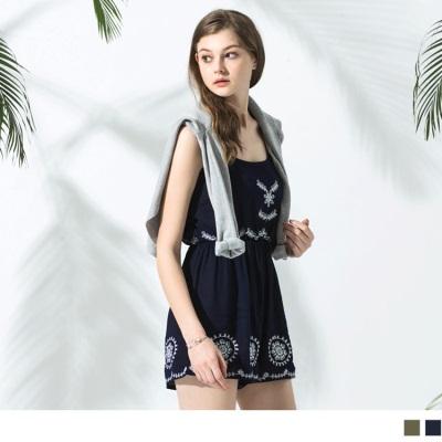 0620新品 刺繡印花細肩帶連身短褲‧2色