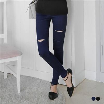 0608新品 牛仔口袋抽鬚造型破損微彈窄管緊身褲.2色
