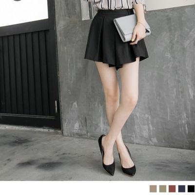0602新品 打褶造型輕透感棉麻短褲裙.5色