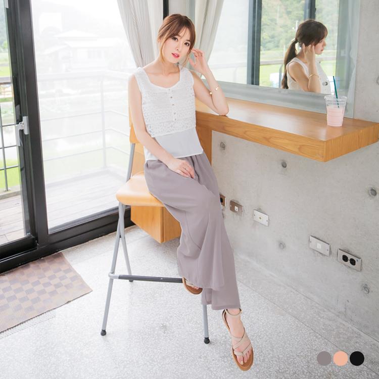 0608新品 素色雪紡飄逸感花邊腰鬆緊寬版長褲ob牛仔褲.3色