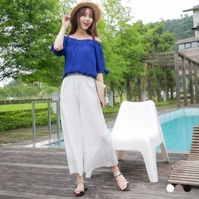 0601新品 素色鏤空織紋造型腰鬆緊寬版九分褲.3色