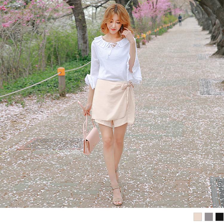 0511新品 雪紡素色綁ob嚴選電話帶裙腰鬆緊短褲.3色