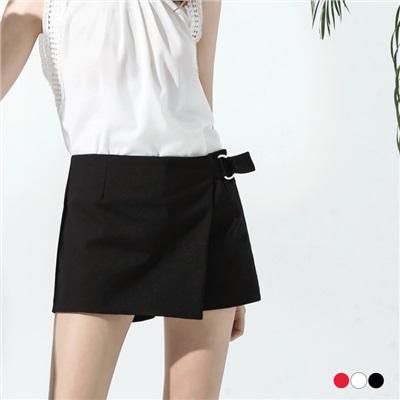 0530新品 斜裁設計金屬環釦造型褲裙.3色