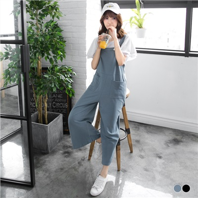 0617新品 素色休閒棉感雙口袋高腰吊帶褲.2色