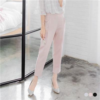 0602新品 腰圍鬆緊打摺設計光澤感老爺褲.3色