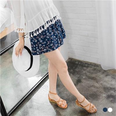 0606新品 雪紡浪漫碎花腰圍鬆緊綁帶短褲裙.2色