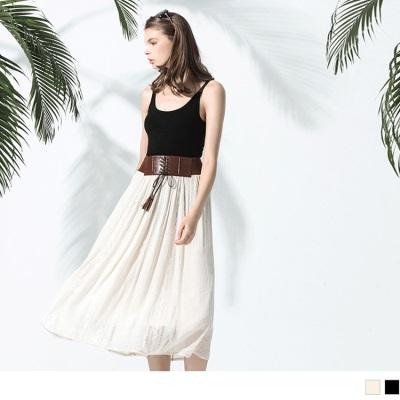 0523新品 流蘇腰帶造型鬆緊鏤空圖騰長裙.2色
