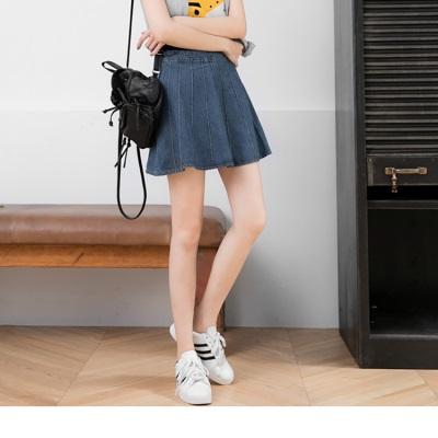 0530新品 立體壓線造型牛仔A字短裙