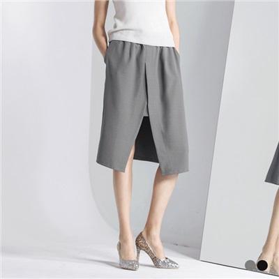 0523新品 鬆緊腰圍開衩設計感及膝裙.2色