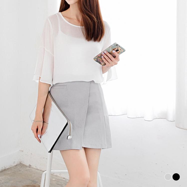 05嚴選服飾26新品 素色質感雙釦半百褶造型A字短裙.2色