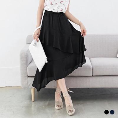 0531新品 素色雪紡斜襬層次造型腰鬆緊中長裙.2色