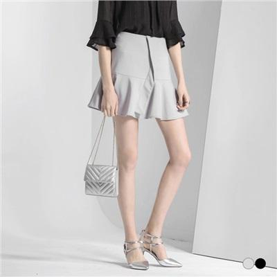 0530新品 質感斜裁造型傘擺魚尾裙.2色