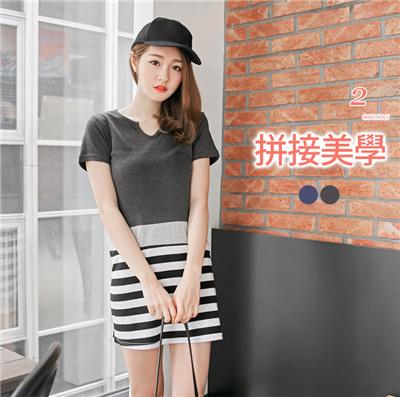 0607新品 素色拼接橫條紋小V口短袖長上衣/洋裝.2色