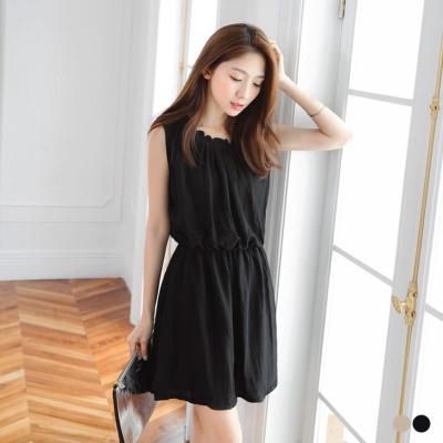 0517新品荷葉領打褶點點綁帶鬆緊無袖洋裝.2色